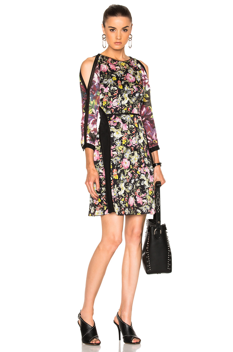 3.1 phillip lim Meadow Flower Cold Shoulder Dress in Black,Floral,Pink,Yellow
