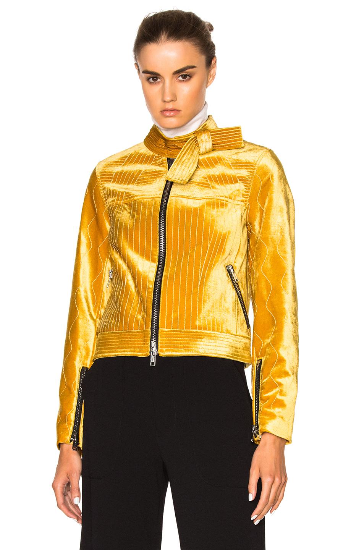 3.1 phillip lim Velvet Moto Jacket in Yellow