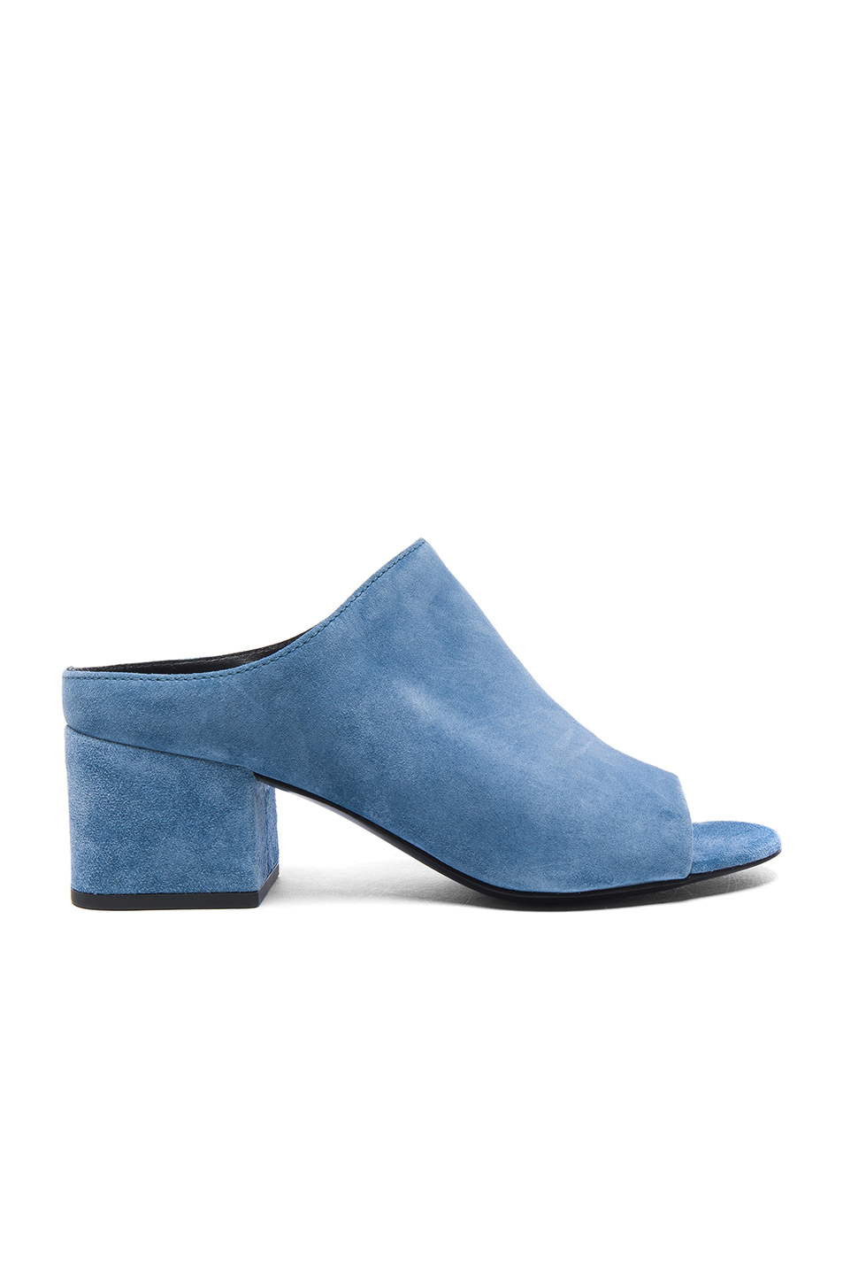 3.1 phillip lim Suede Cube Open Toe Slip Ons in Blue