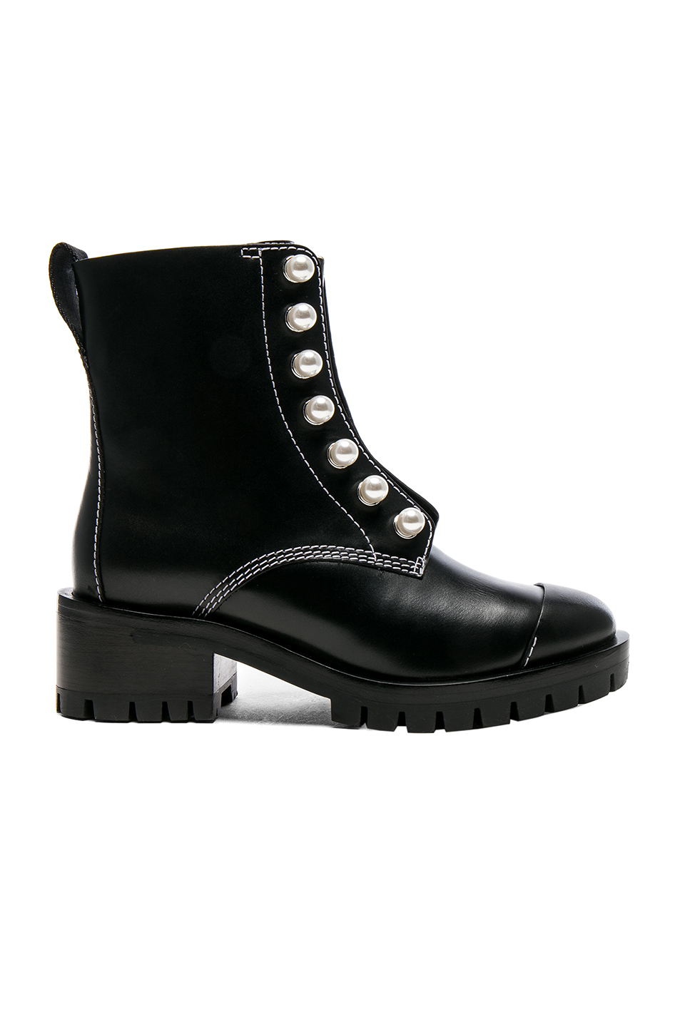 3.1 phillip lim Lug Sole Zipper Leather Boots with Pearls in Black