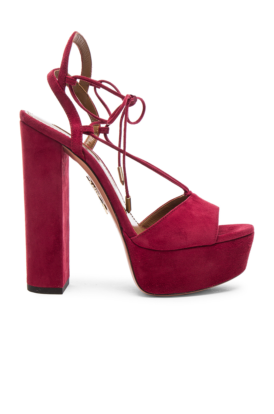 Photo of Aquazzura Suede Austin Plateau Heels in Red online sales