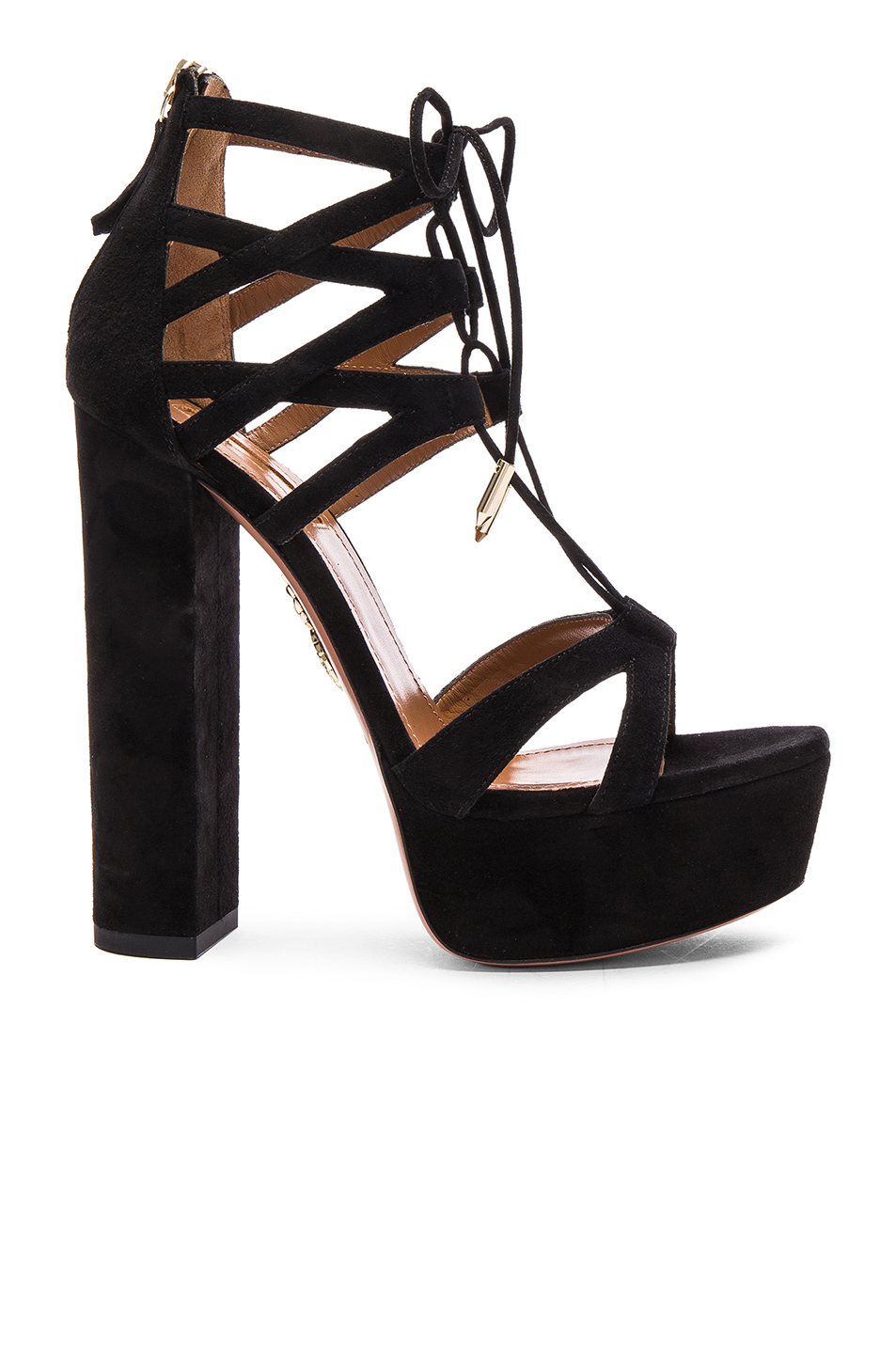 Aquazzura Beverly Hills Plateau Suede Heels in Black