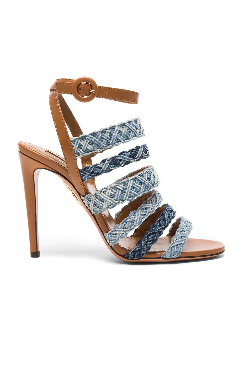 Photo of Aquazzura Braided Denim Tyra Heels in Blue online sales
