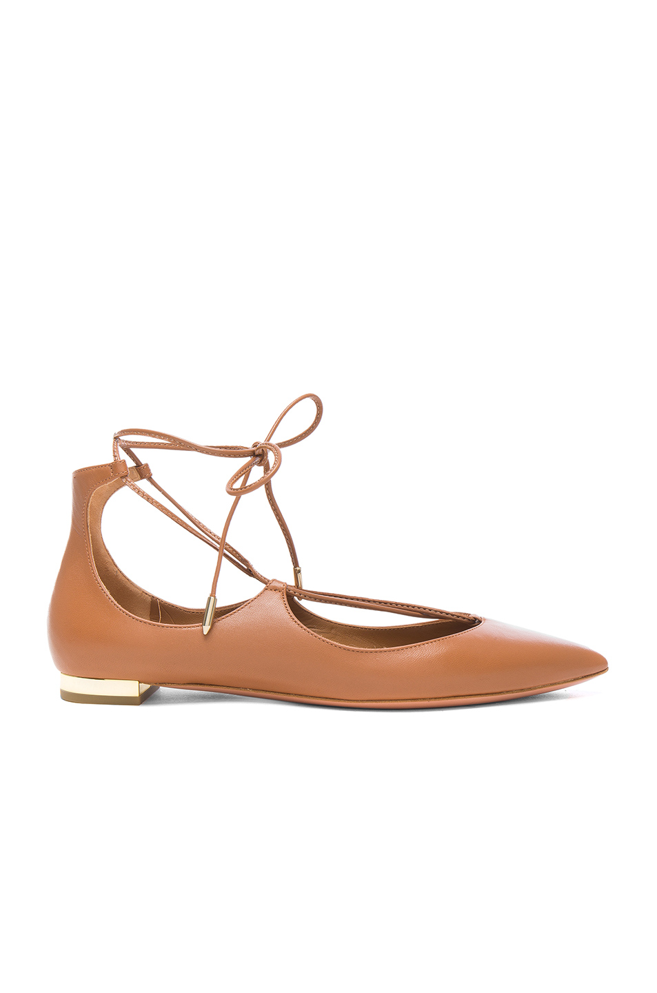 Aquazzura Leather Christy Flats in Brown