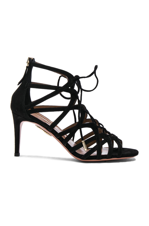 Aquazzura Suede Ivy Heels in Black