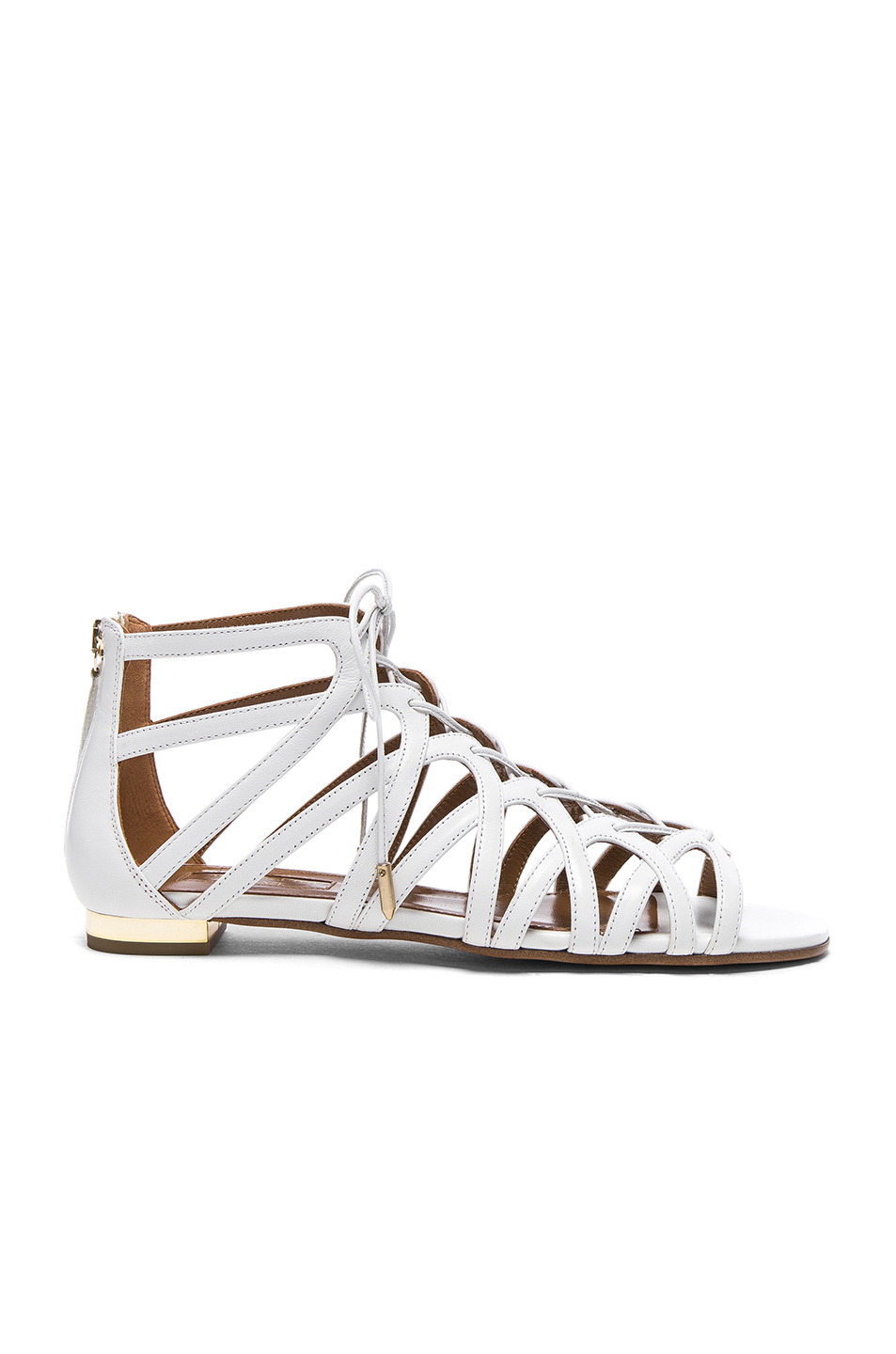 Photo of Aquazzura Leather Ivy Sandal Flats in White online sales