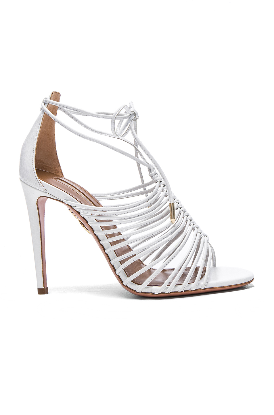Aquazzura Leather Nadja Heels in White