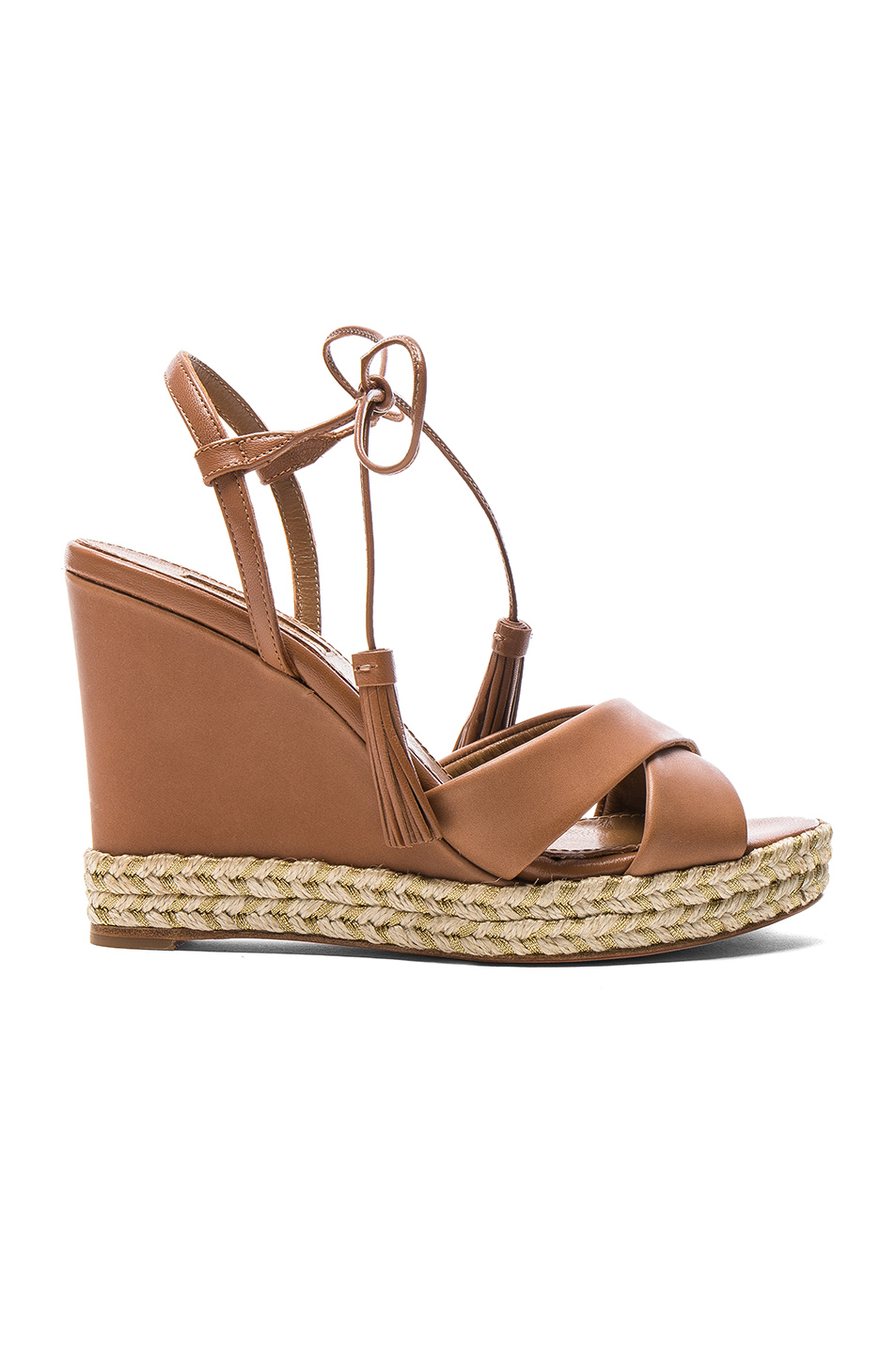 Aquazzura Leather Paraty Espadrille Wedges in Brown