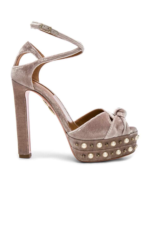 Aquazzura Velvet Harlow Pearls Pleateau Heels in Neutrals