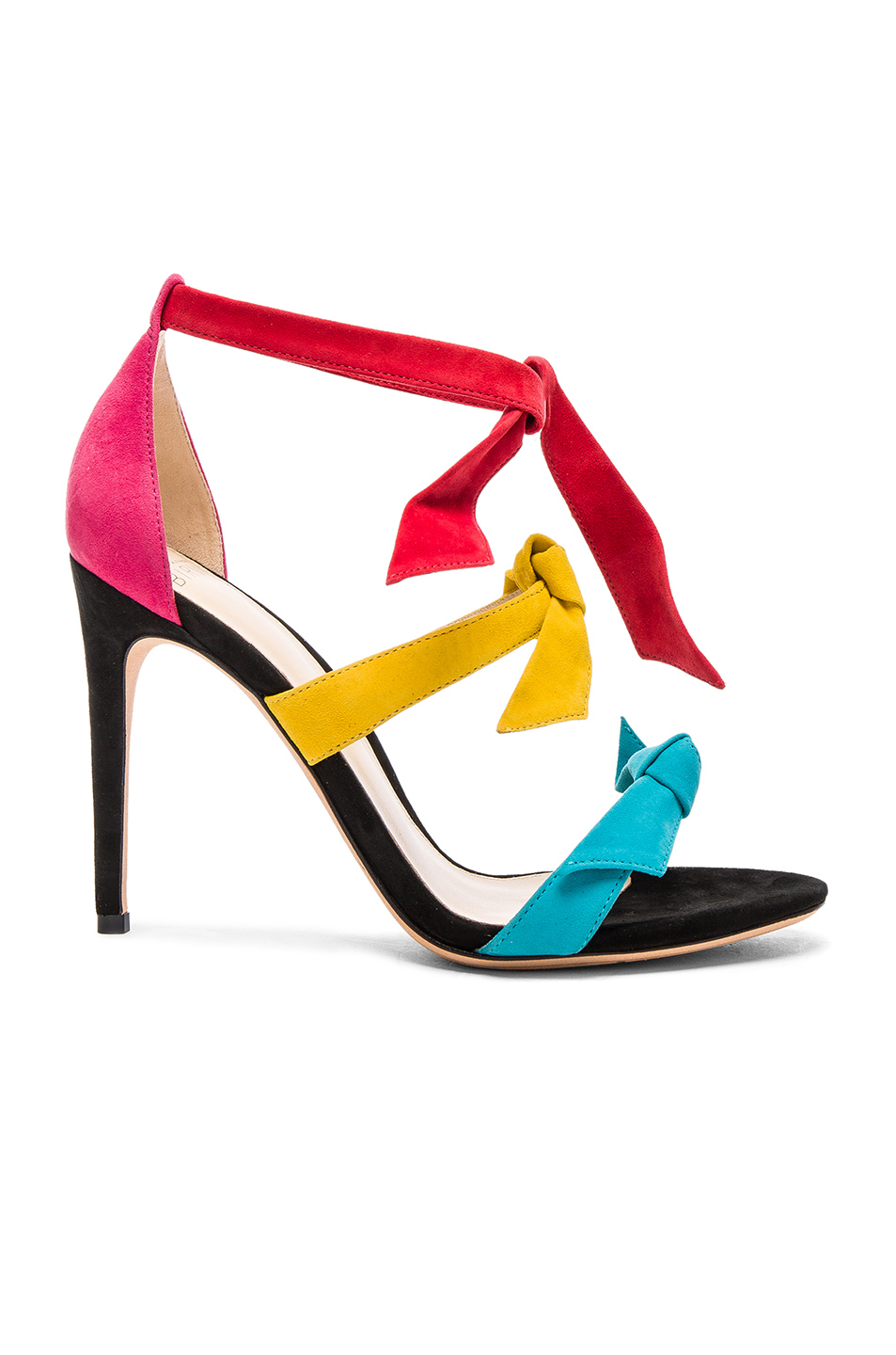 Alexandre Birman Suede Mary Heels in Abstract,Black,Green,Pink,Red,Yellow