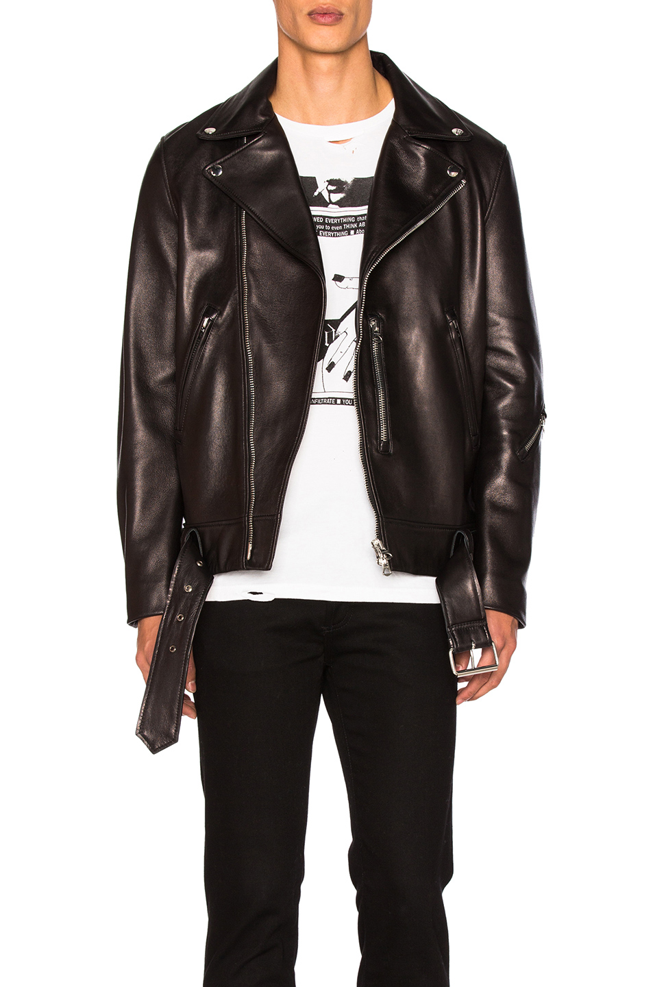 Acne Studios Nate Clean Leather Jacket in Black