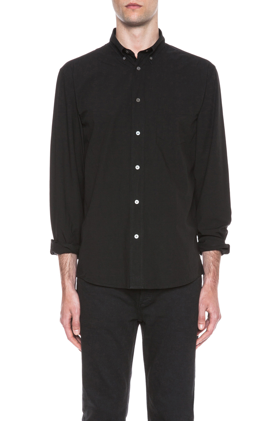 Acne Studios Isherwood Poplin Cotton Button Down in Black