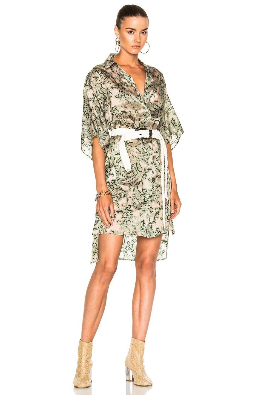 Acne Studios Debrah Dress in Abstract,Green,Neutrals