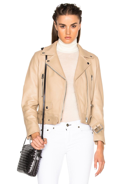 Acne Studios Mock Leather Jacket in Neutrals,Brown