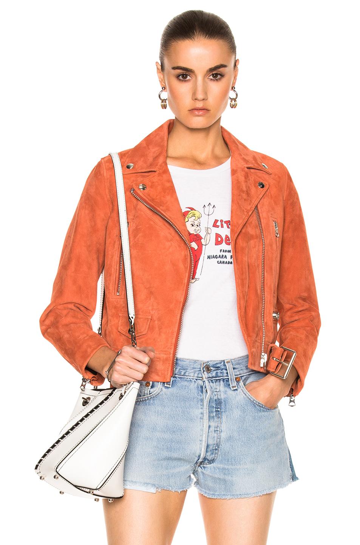 Acne Studios Mock Suede Leather Jacket in Pink