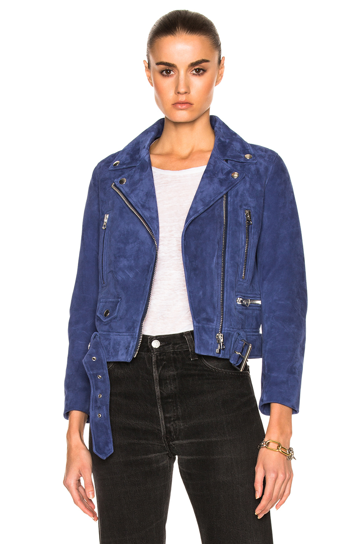 Acne Studios Mock Suede Leather Jacket in Blue