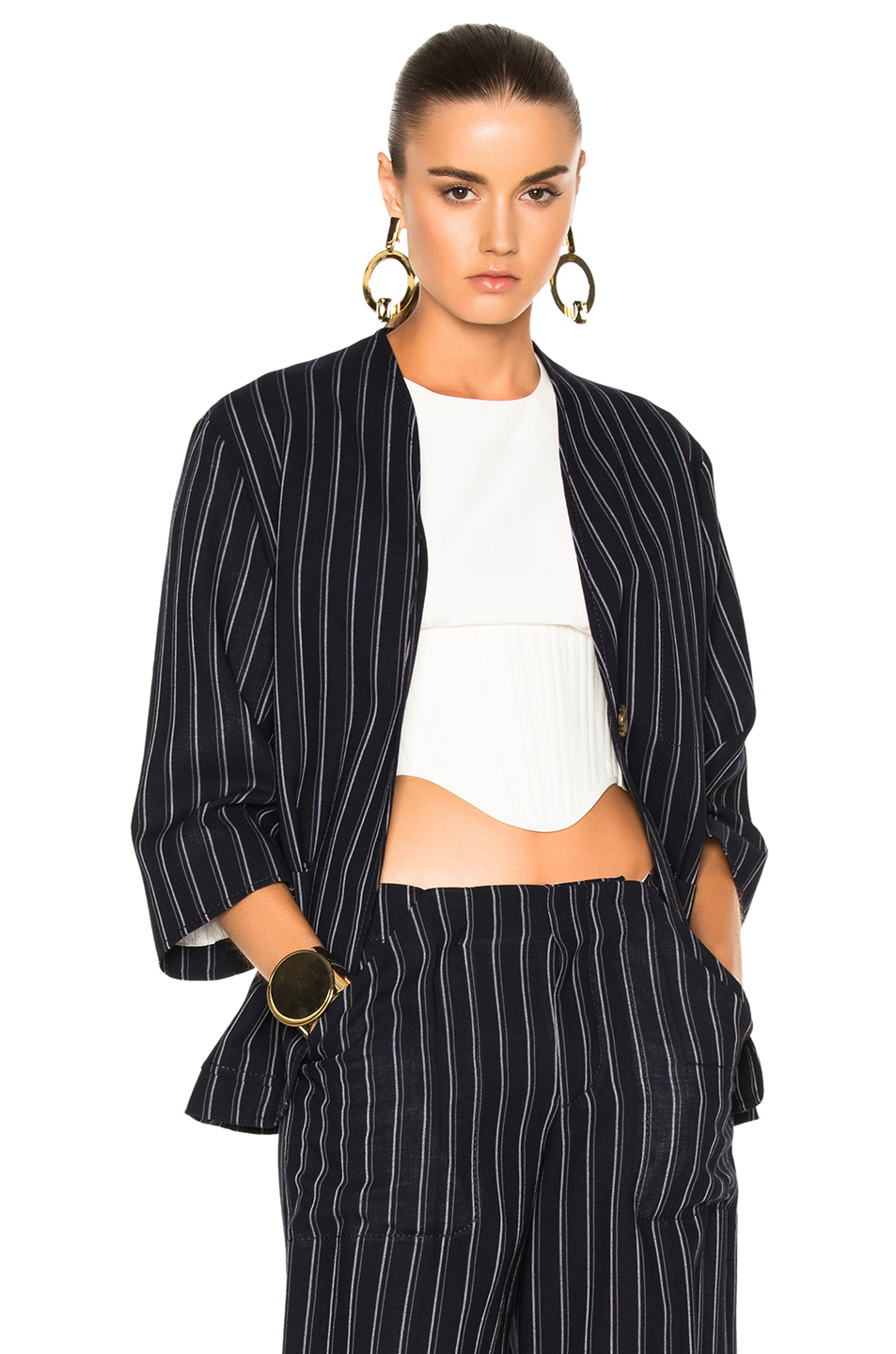 Acne Studios Jada Suit Jacket in Blue,Stripes