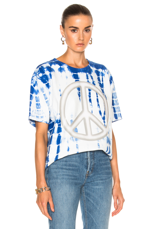 Acne Studios Niagara Peace Tee in Blue,Ombre & Tie Dye,White