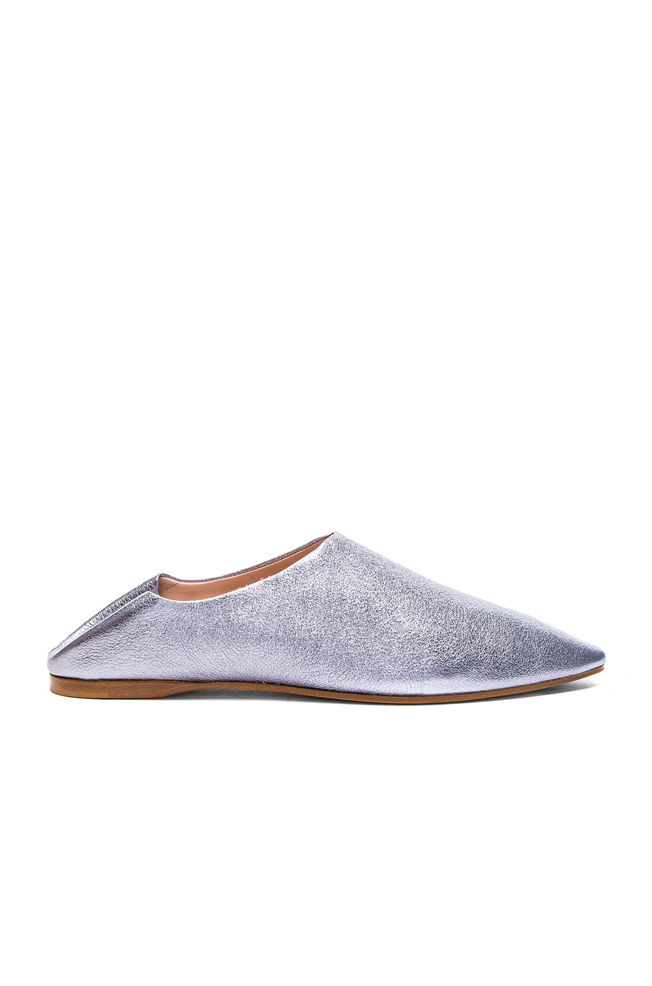 Acne Studios Leather Amina Space Flats in Metallics