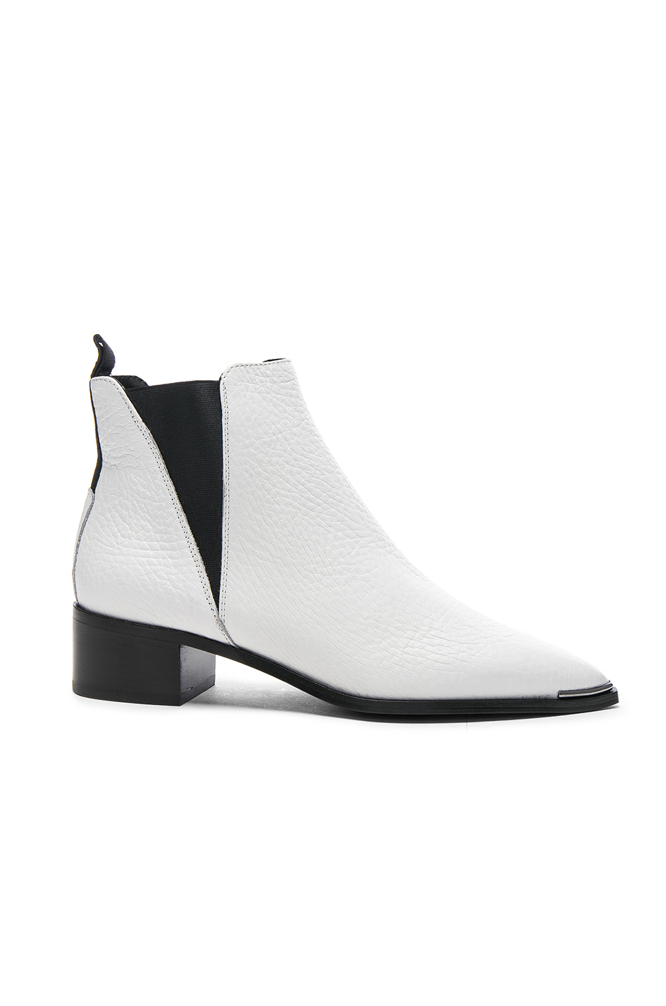 Photo of Acne Studios Grained Leather Jensen Booties in White shop Acne Studios shoes