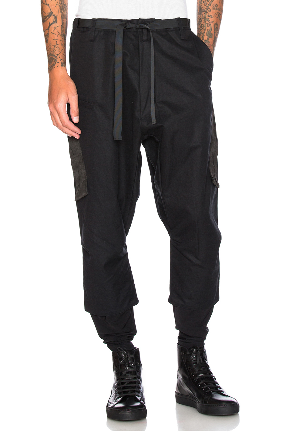 Acronym HD Gabardine Drawcord Trousers in Black