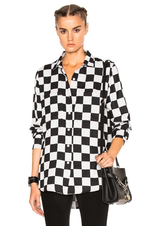Adaptation Big Check Shirt in Black,White,Geometric Print