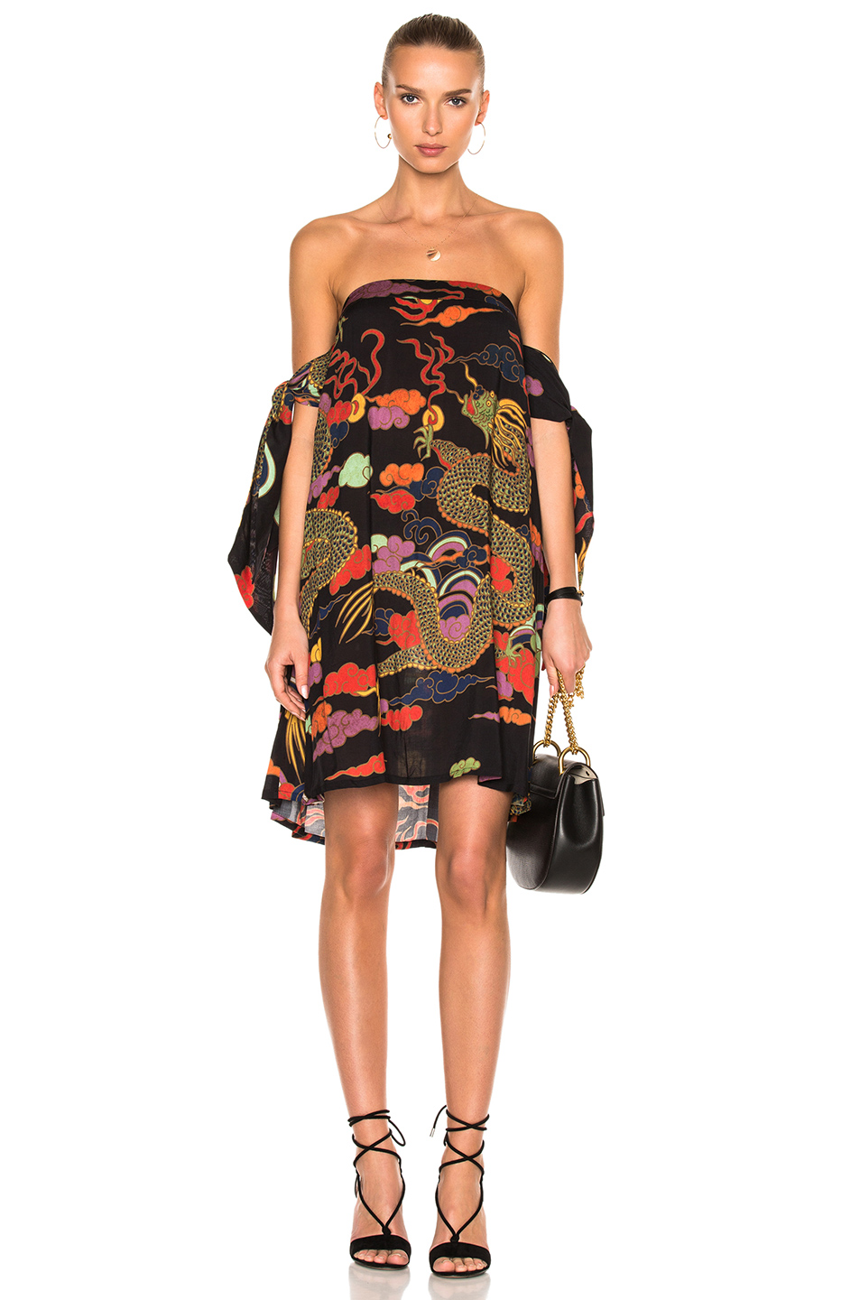 ADRIANA DEGREAS Dragoon Off The Shoulder Dress in Abstract,Black,Green,Red,Orange