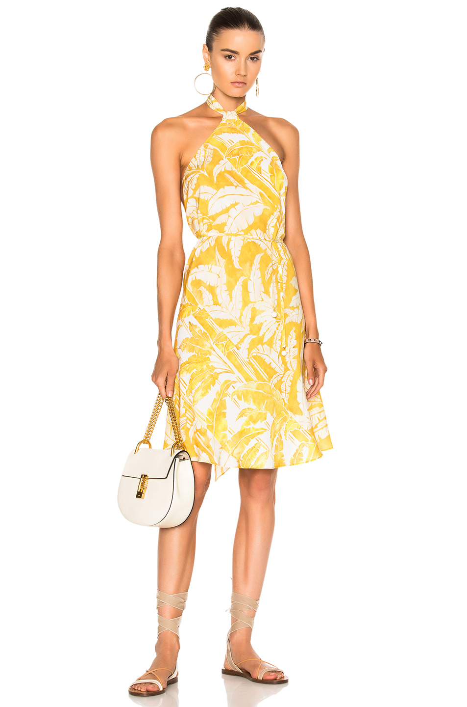 ADRIANA DEGREAS for FWRD Flower Halter Dress in Abstract,Yellow