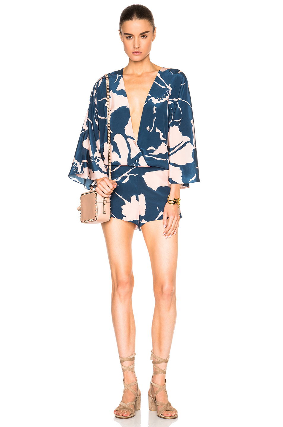 ADRIANA DEGREAS Crepe de Chine Playsuit in Blue,Floral