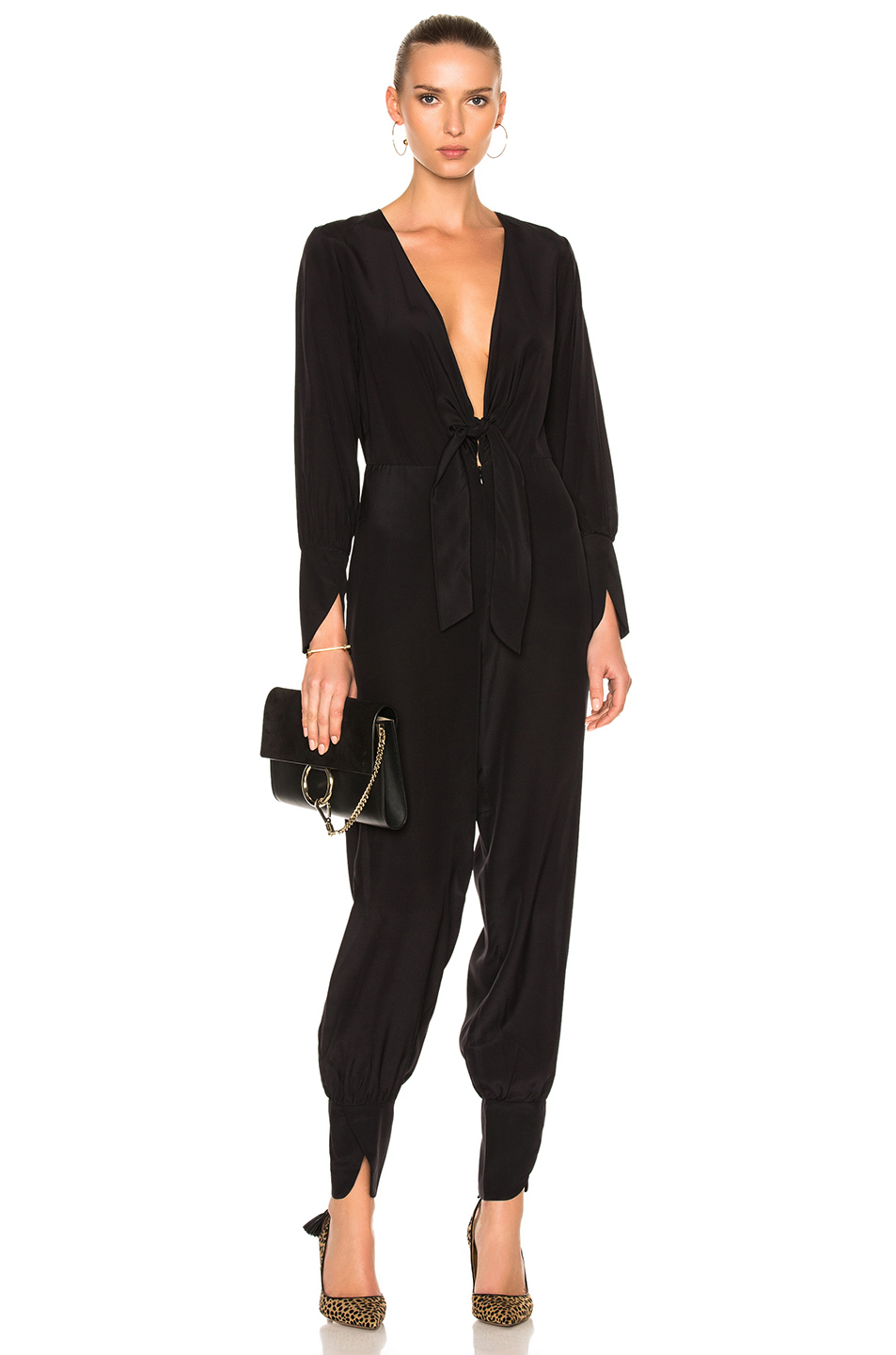 ADRIANA DEGREAS Solid Jumpsuit in Black