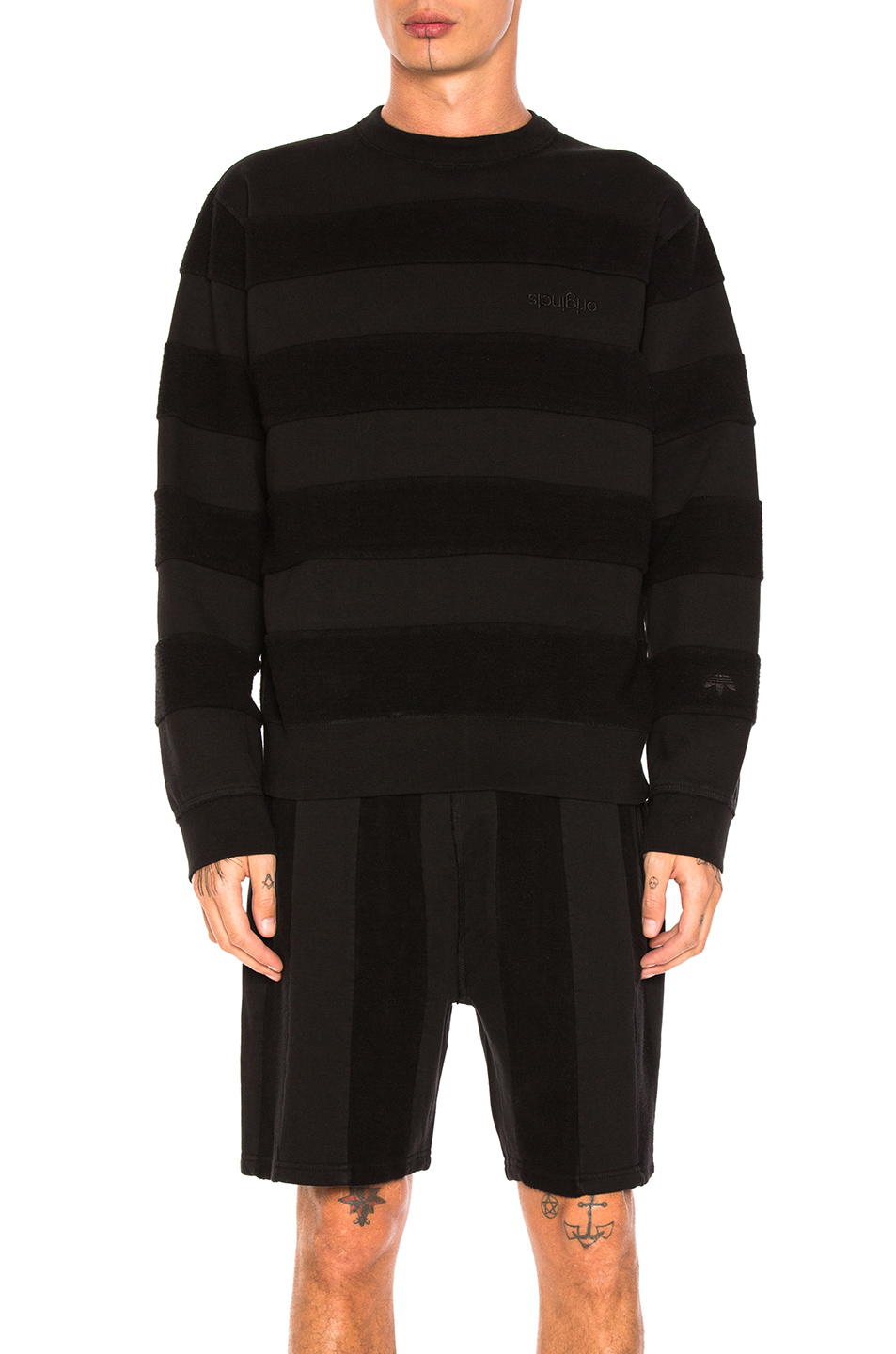 Photo of adidas by Alexander Wang Inout Crew Neck Sweater in Black - shop adidas by Alexander Wang menswear