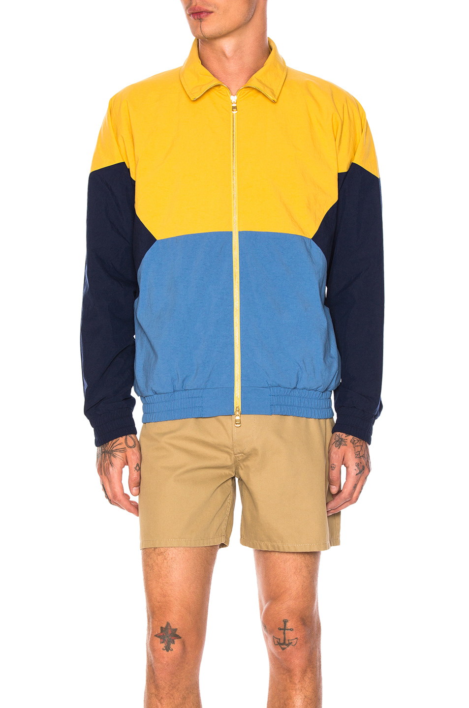 Aime Leon Dore Full Zip Windbreaker in Yellow,Blue