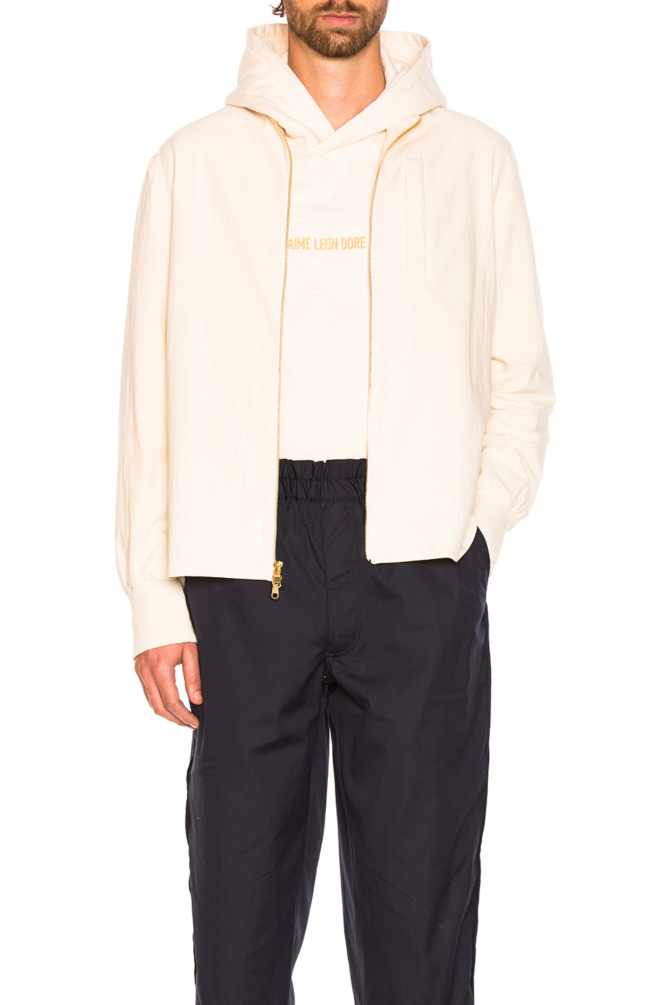 Aime Leon Dore Full Zip Shirt in White