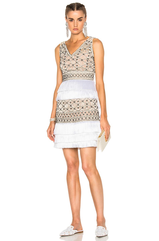 ALBERTA FERRETTI Crochet Embellished Sleeveless Mini Dress in Metallics,Neutrals,White