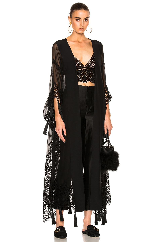 ALBERTA FERRETTI Chiffon Lace Trim Robe in Black