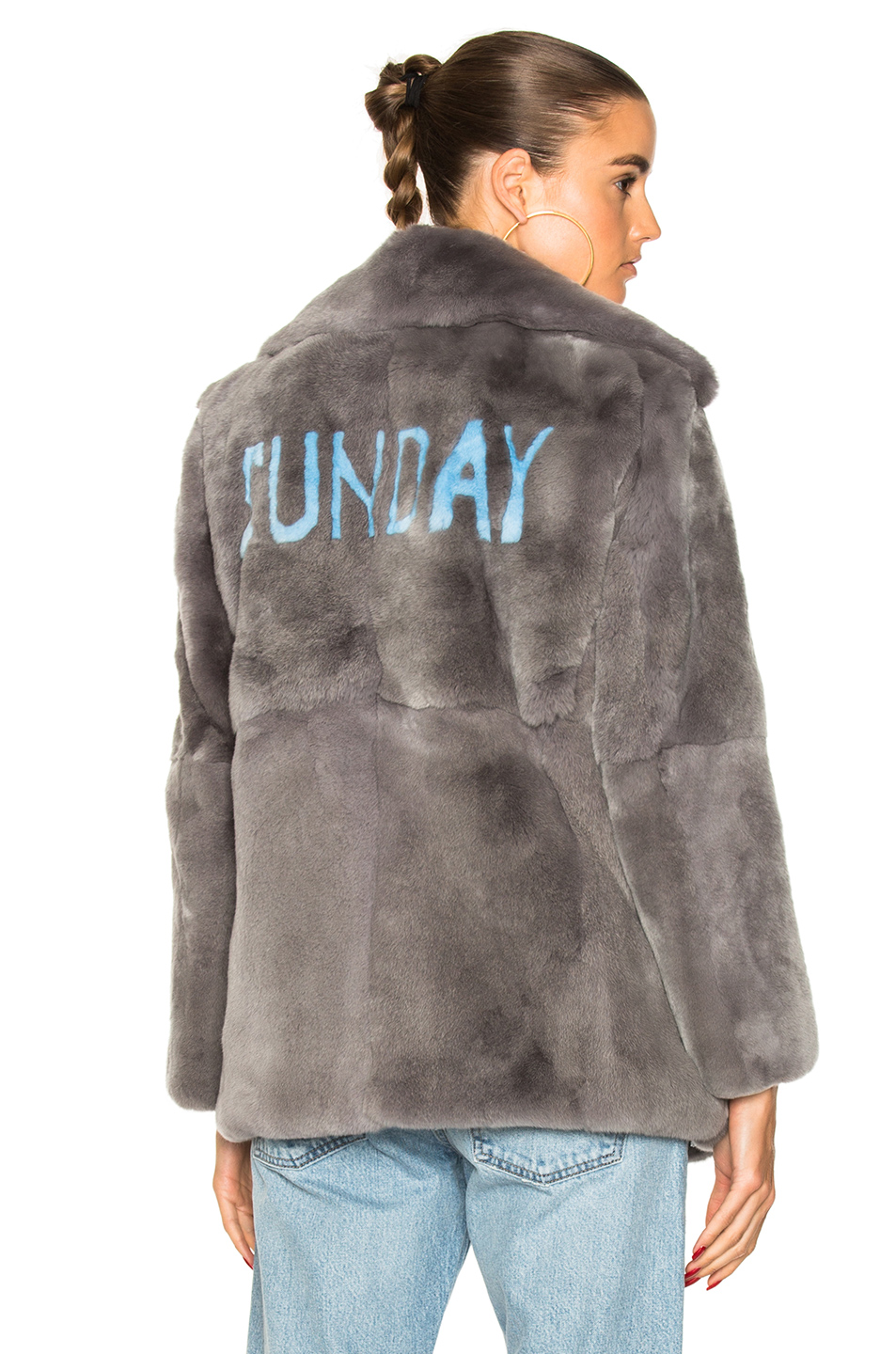 ALBERTA FERRETTI Sunday Rabbit Fur Coat in Gray
