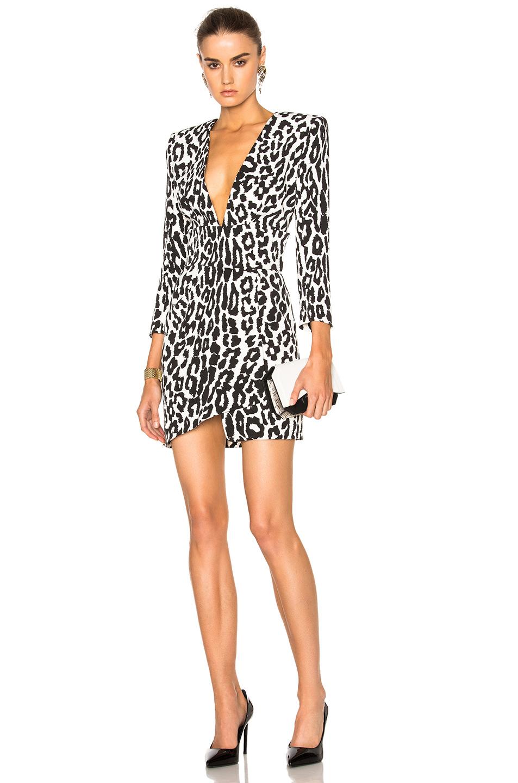 Alexandre Vauthier Leopard Crepe Dress in White,Animal Print