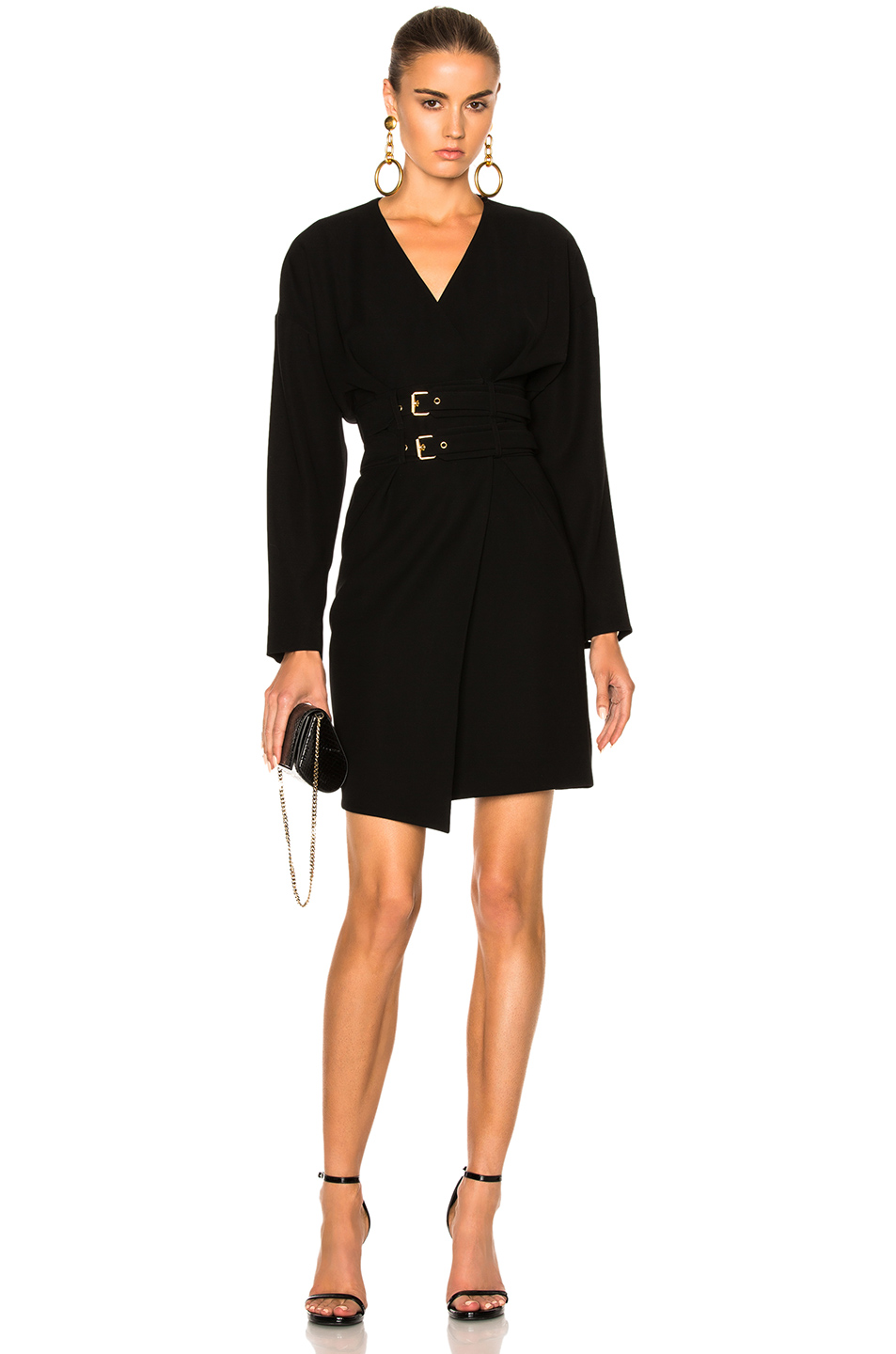 Alexandre Vauthier Belted Wrap Dress in Black