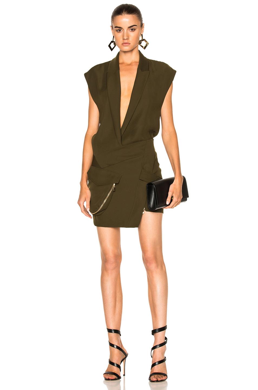 Alexandre Vauthier Japanese Crepe Deep V Wrap Dress in Green