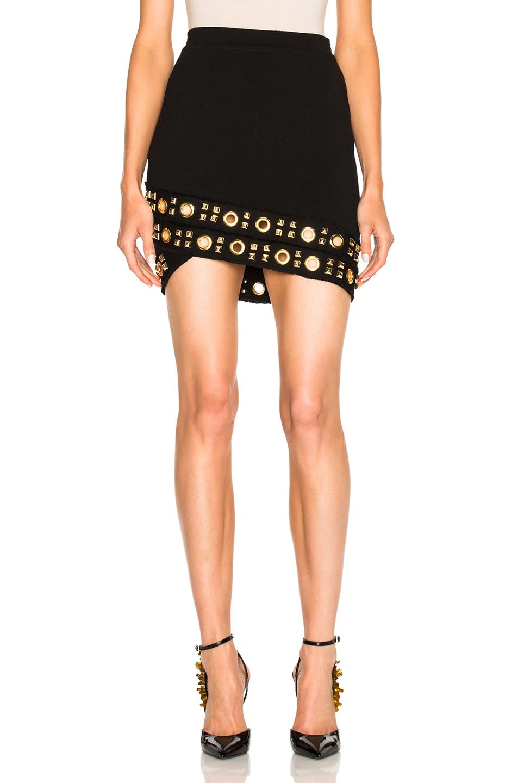 Alexandre Vauthier Knit Studded Grommet Skirt in Black