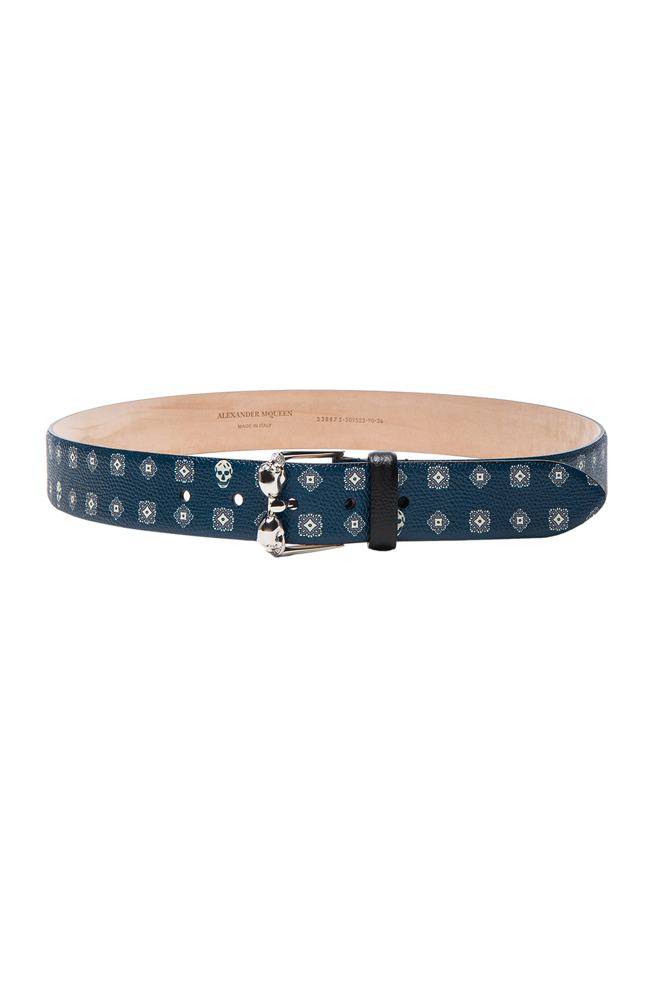 Alexander McQueen Double Buckle Skull Belt in Blue,Geometric Print