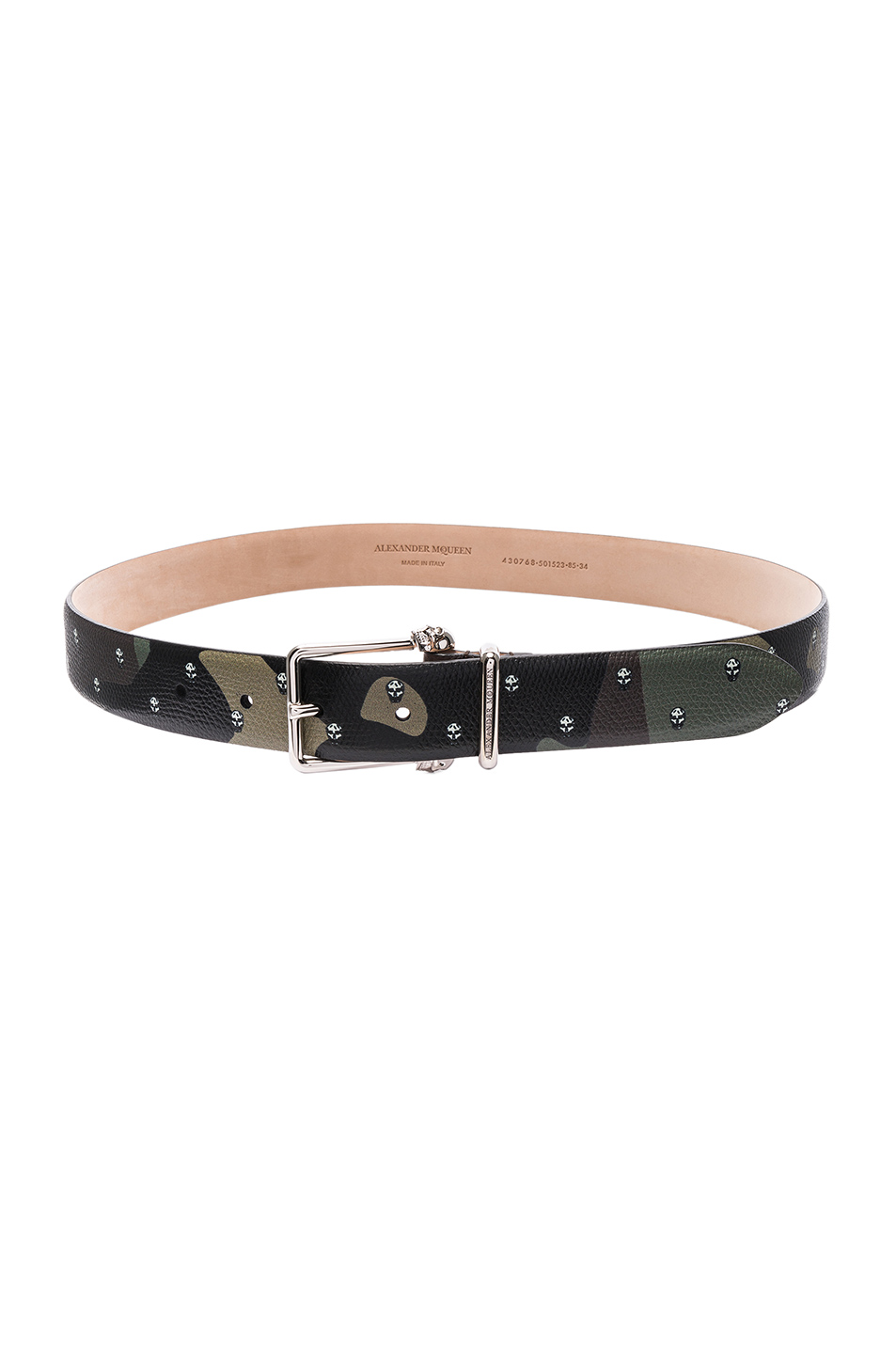 Alexander McQueen Buckle Skull Belt in Green
