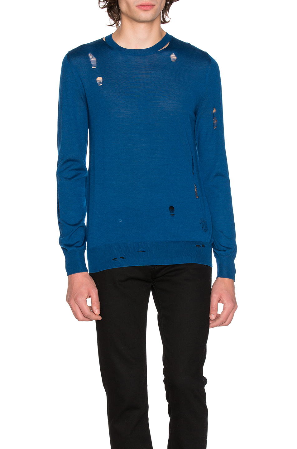 Alexander McQueen Long Sleeve Crew Neck Sweater in Blue