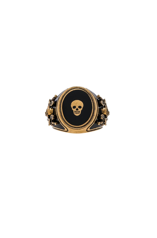 Alexander McQueen Enamel Signet Ring in Metallics