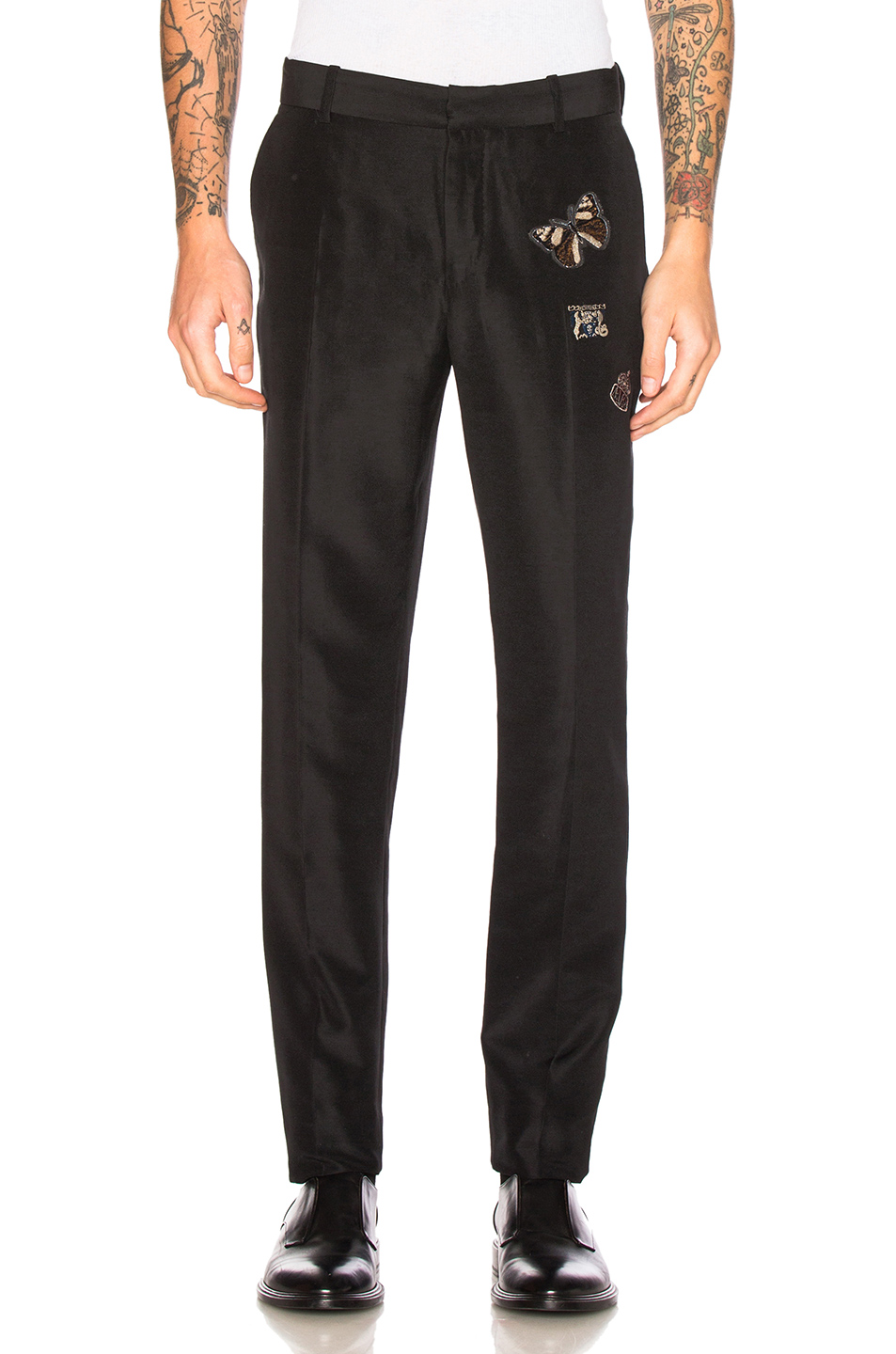 Alexander McQueen Embroidered Trousers in Black