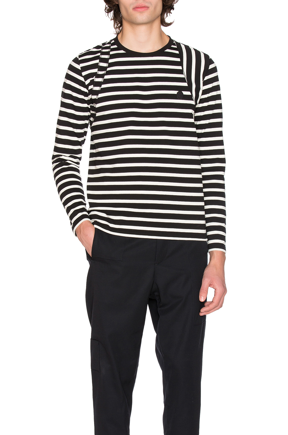 Alexander McQueen Long Sleeve Striped Shirt in Black,Stripes