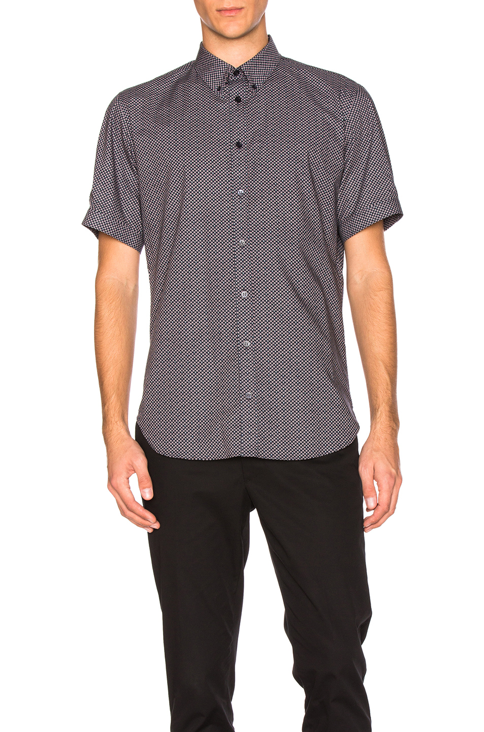 Photo of Alexander McQueen Short Sleeve Shirt in Blue - shop Alexander McQueen menswear