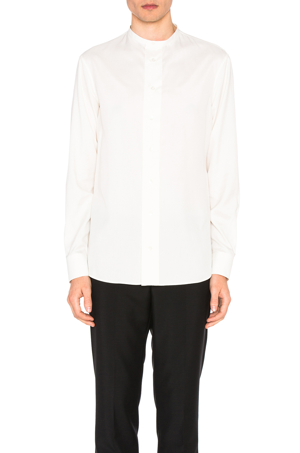Alexander McQueen Collarless Silk Shirt in White