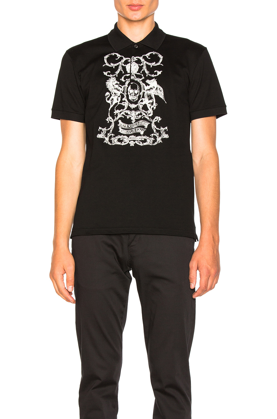 Alexander McQueen Printed Polo in Black