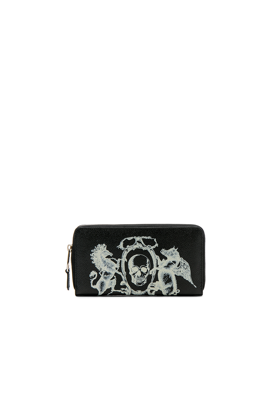Alexander McQueen Coat of Arms Continental Zip Wallet in Black